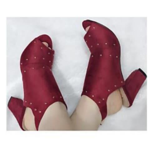 Suede High Heel Half Sandal Women's Block Heels-wine