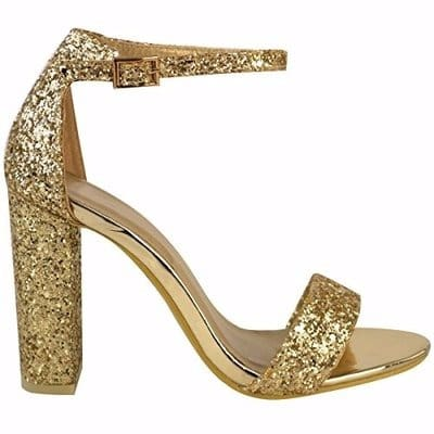 Bamboo Gold Block High Heel Sandal