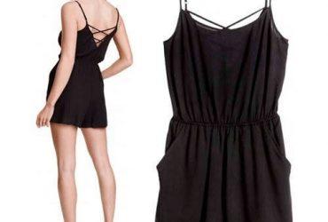 H & M Womens Regular Fit Playsuit | Black