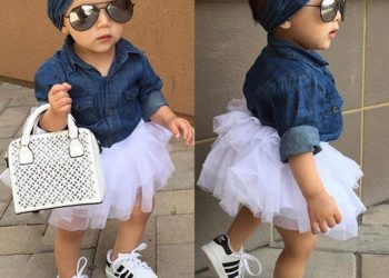 Cute Baby Girl Jean Shirt and Ruffled Skirt