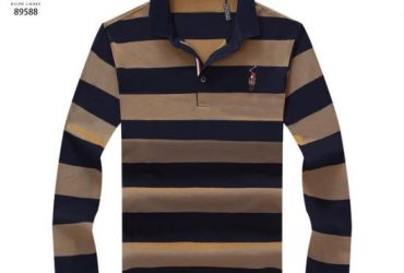 RL Custom Fit Navy Blue and Brown Stripped Longsleeve Pol