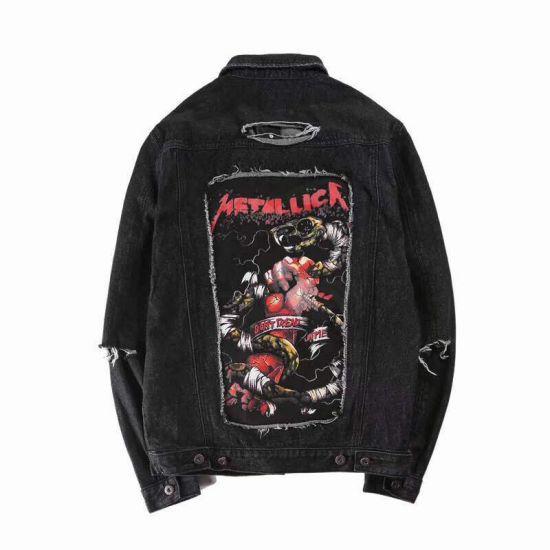 Fear of God Fashion Jeans Black Embroidery Metalic Denim Jacket