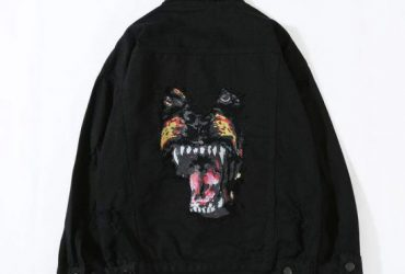 Fashion Jeans Vogue Black Embroidery Tiger Denim Jacket