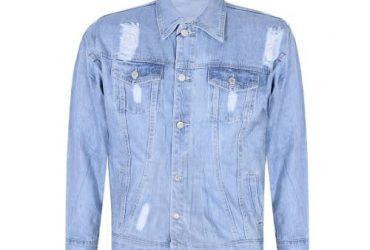 Men's Distressed Denim Button Down Jacket – Blue