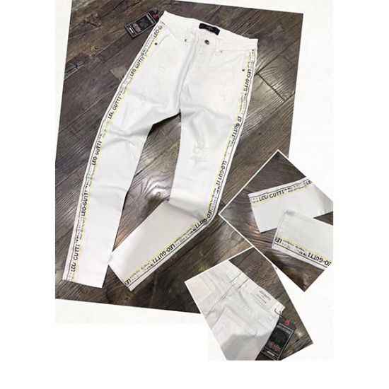 Leo Gutti Jeans Side Stripped White Pant
