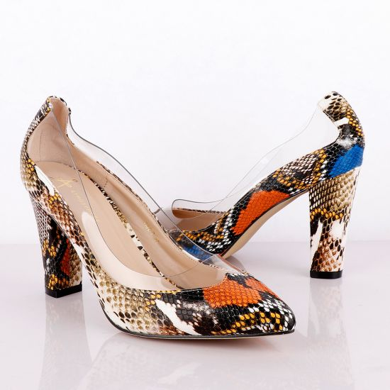 Atmosphere Classic Mulicolored Animal Skin Women's Thick High Heel Shoe