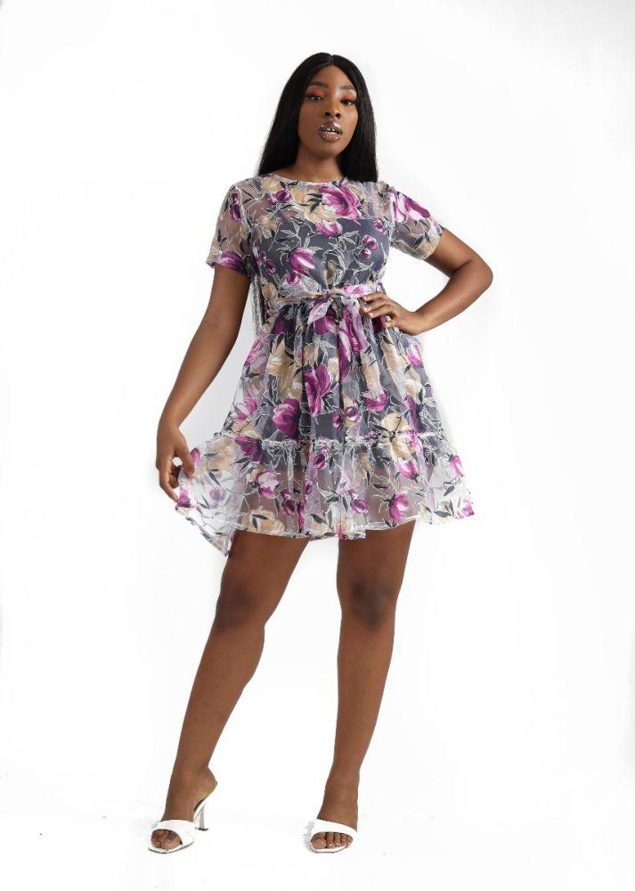 Floral Print Organza Dress