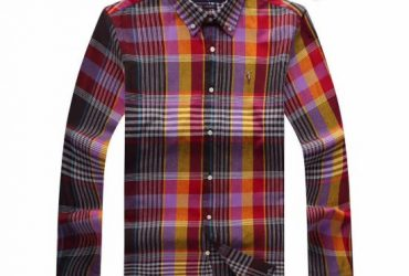 PRL Men's Checkered Yellow Red Purple Button-Down Long Sleeve Shirt