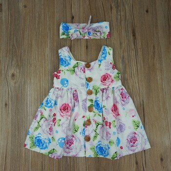 Beautiful Baby Girl's Floral Overall Skirt and Head-Band