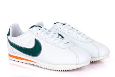 Classic Nk Cortez Hawkins Prem White and Green Sneakers