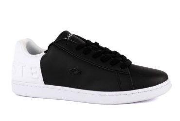 Lacoste Black/White Carnaby Crested Black Logo Sneaker