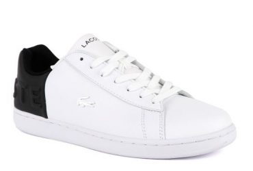 Lacoste White/Black Carnaby Crested Logo Sneaker