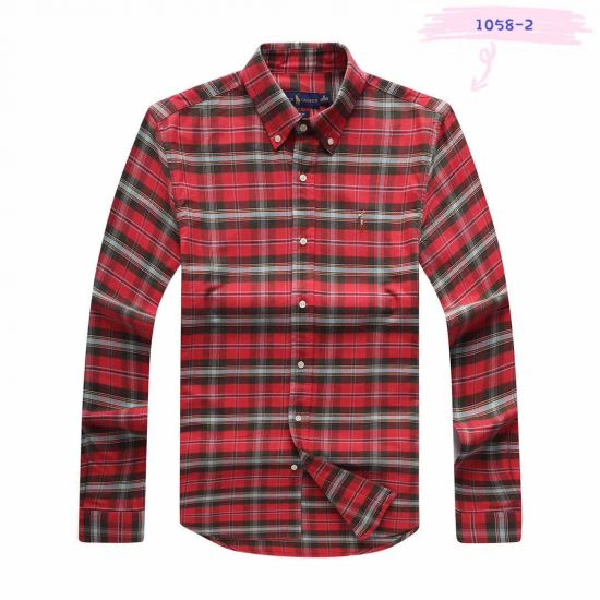 PRL Men's Checkered Green Red Button-Down Long Sleeve Shirt