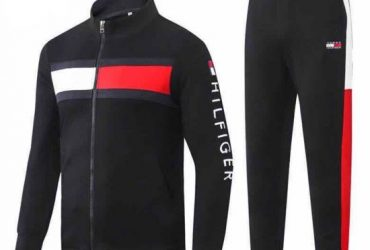 Skip to the end of the images gallery Skip to the beginning of the images gallery Tommy Hilfiger White And Red Strap Design Black Tracksuit