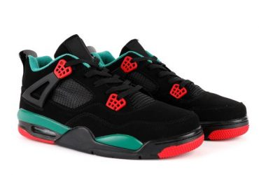 Air Jordan 4 Retro Black/Green Noir-Vert Sneakers