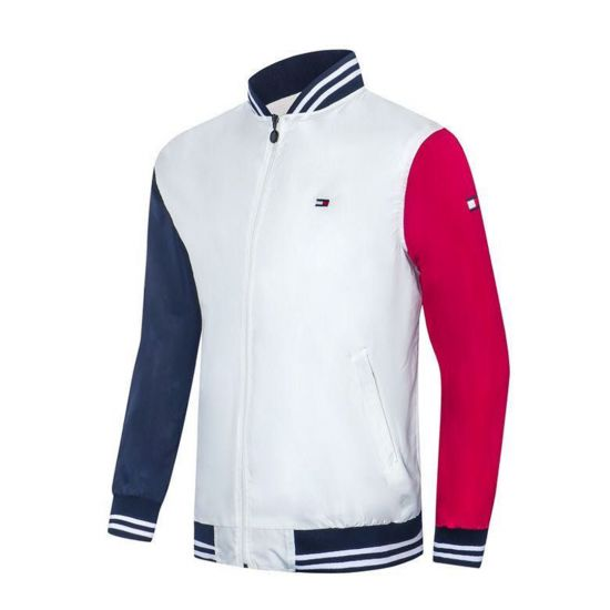 Tommy Hilfiger Men's Long Sleeve White and Coloured hand Track Jacket