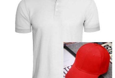 Men's Polo T-Shirt & Cap – Red & White