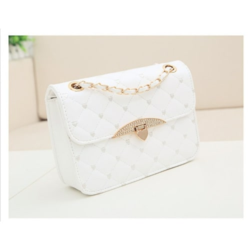 Quilted Crossbody Chain Strap Purse – White