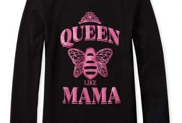 Girl's Glitters Queen Like Mama Long Sleeve Graphic Top- Black And Pink