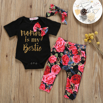 Cute Baby Girls Romper and Floral Pants with Head-Band