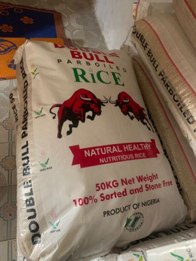 Double bull parboild rice we sell in wholesale and retail you can contact me on 08128445098