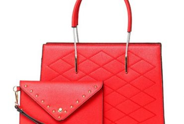 Luxury Women Designer Leather 2 in 1 Bag – Red