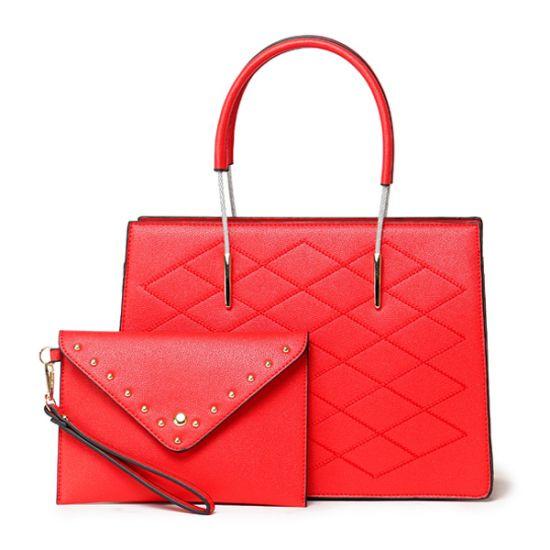 Luxury Women Designer Leather 2 in 1 Bag – Red