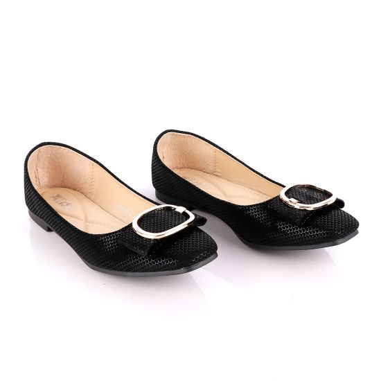 Fashionable Classic Flowery Black Women's Flat Shoe