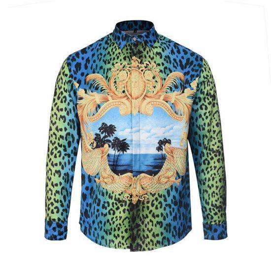 Vintage VE Leopard Palace Baroque longsleeve Shirts Blue