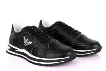 Giorgio Armani Black Leather Classic Sneakers