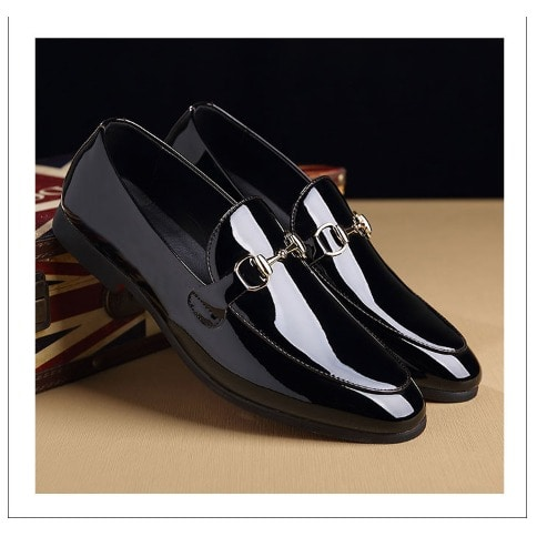 MNJ Men's Patent Leather Loafers – Black