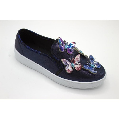 Shonex Women Butterfly Embellished Shiny Canvas Loafers – Blue
