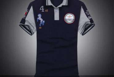 Aeronautica Militare With Horse Design Short Sleeve Shirt Polo-Navy Blue