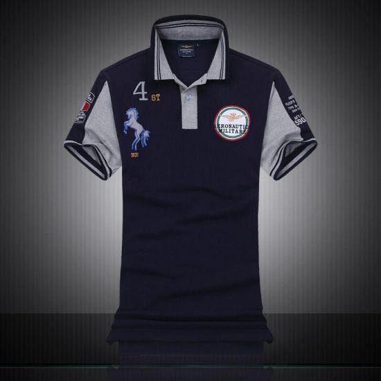 Aeronautica Militare With Horse Design Short Sleeve Shirt Polo-Navy Blue