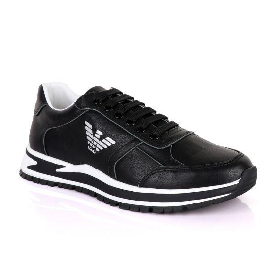 Giorgio Armani Black Leather Classic Sneakers