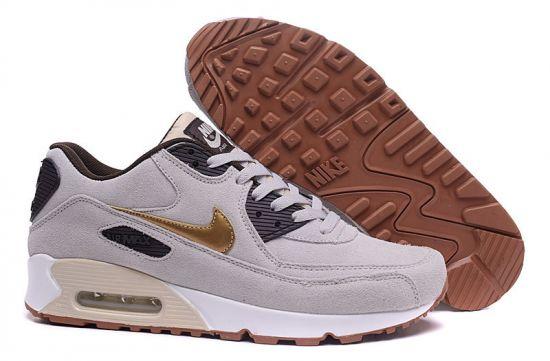 Max 90 Premium Suede Beige Sport Running Shoes
