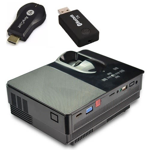 VS67 1800 Lumens AC DC Portable Mini HD Projector + Anycast WiFi Dongle + Bluetooth Dongle