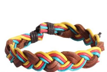 Colorful Unisex Woven Wristband Bracelet Leather