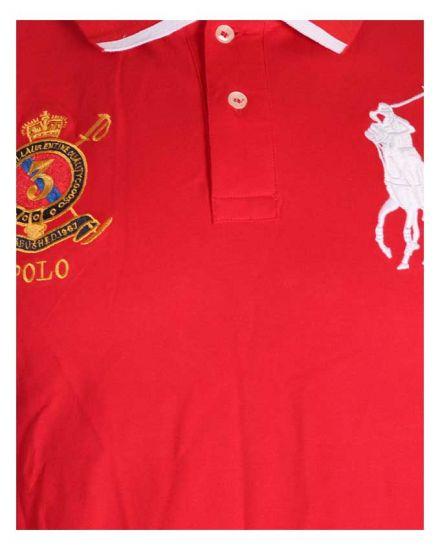 P R L Slim Fit Mesh Big Pony Shirts Red White Black