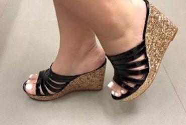 Ladies Wedge Slippers-Black