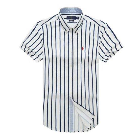 PRL Fit Button-Down White Red Custom Short sleeve Shirt