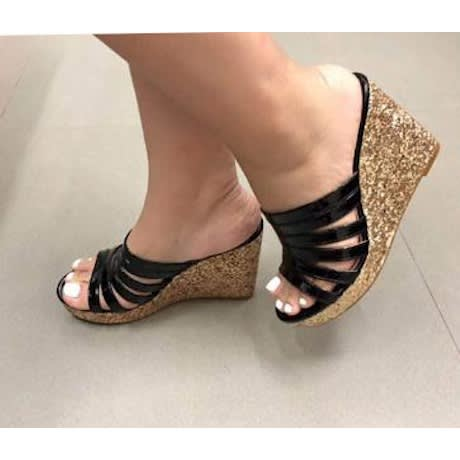 Ladies Wedge Slippers-Black