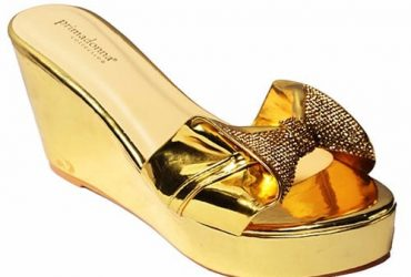 Ladies Wedge Slippers – Gold