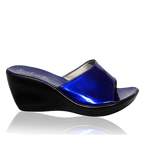 Fashion By LV Ladies Wedge Shoe- Blue