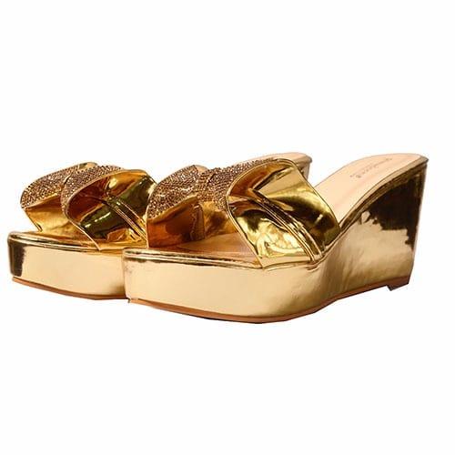 Ladies Wedge Slippers – Gold