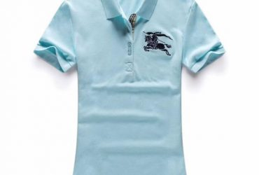 Burberry Custom Design Ladies Turquoise Short Sleeve Polo
