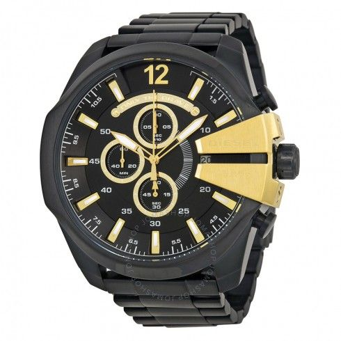 Diesel Mega Chief Chronograph Black Ion-plated Men's Watch DZ4338