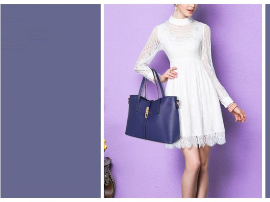 Classic Leather Detachable 3 in 1 Strap Woman Black Handbag