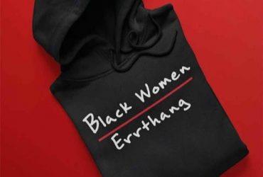 Black Women Print Black Hoodie