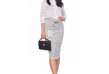 Striped Bodycon Slim Fit Jersey Midi Skirt